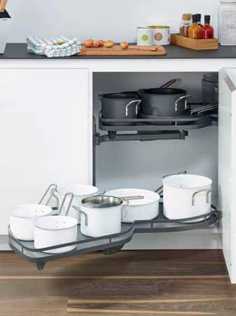 MuebMueble de cocina de esquina con bandeja extraiblele de cocina de esquina con bandeja extraible
