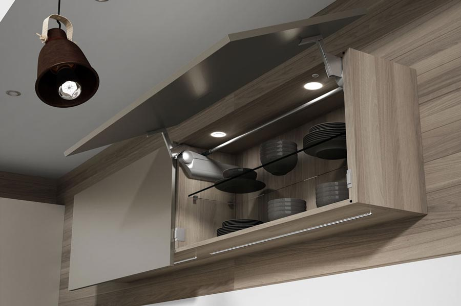 Muebles aéreos para ahorra espacio en la cocina