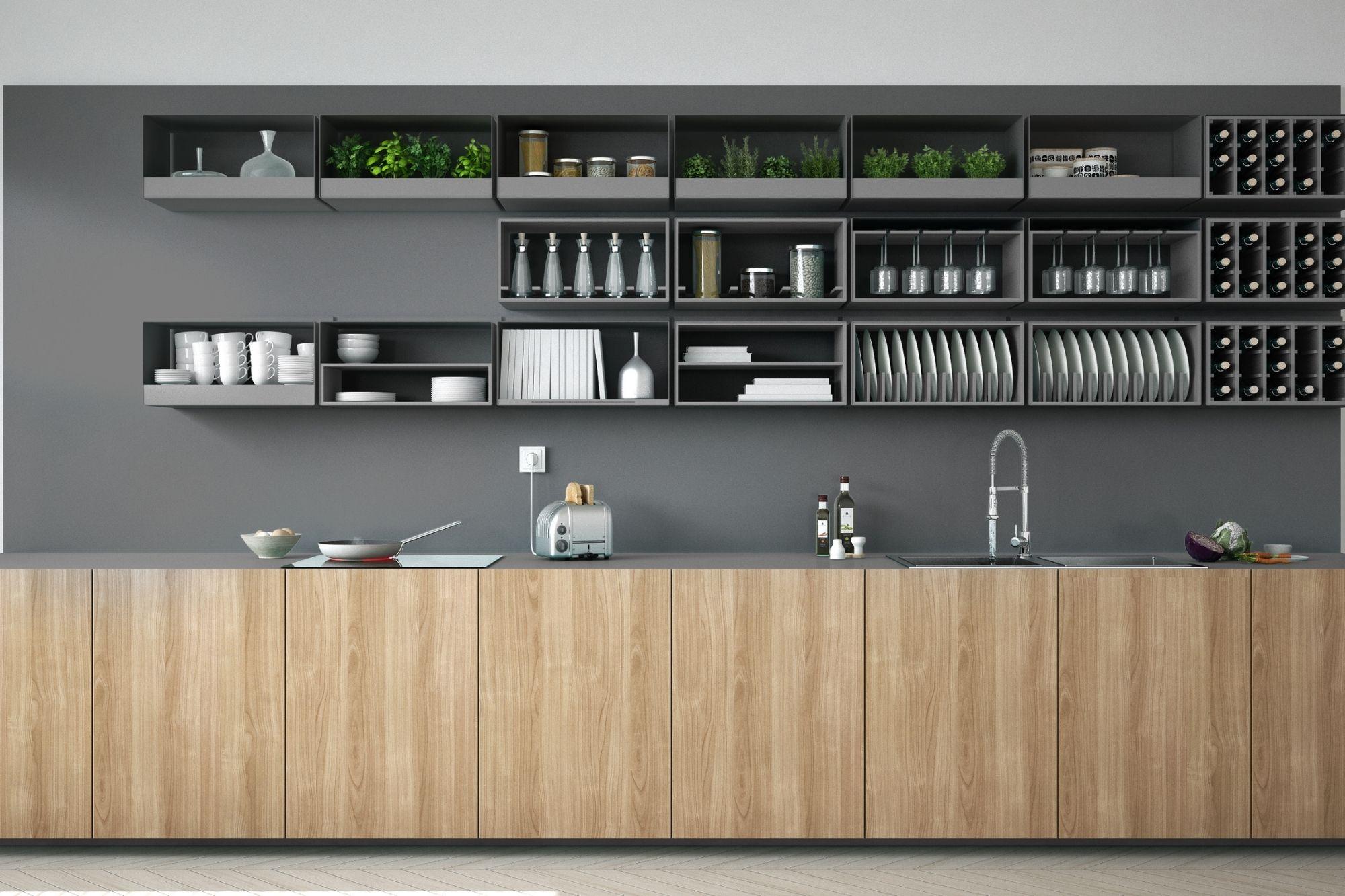 Cocina con apertura de muebles superiores